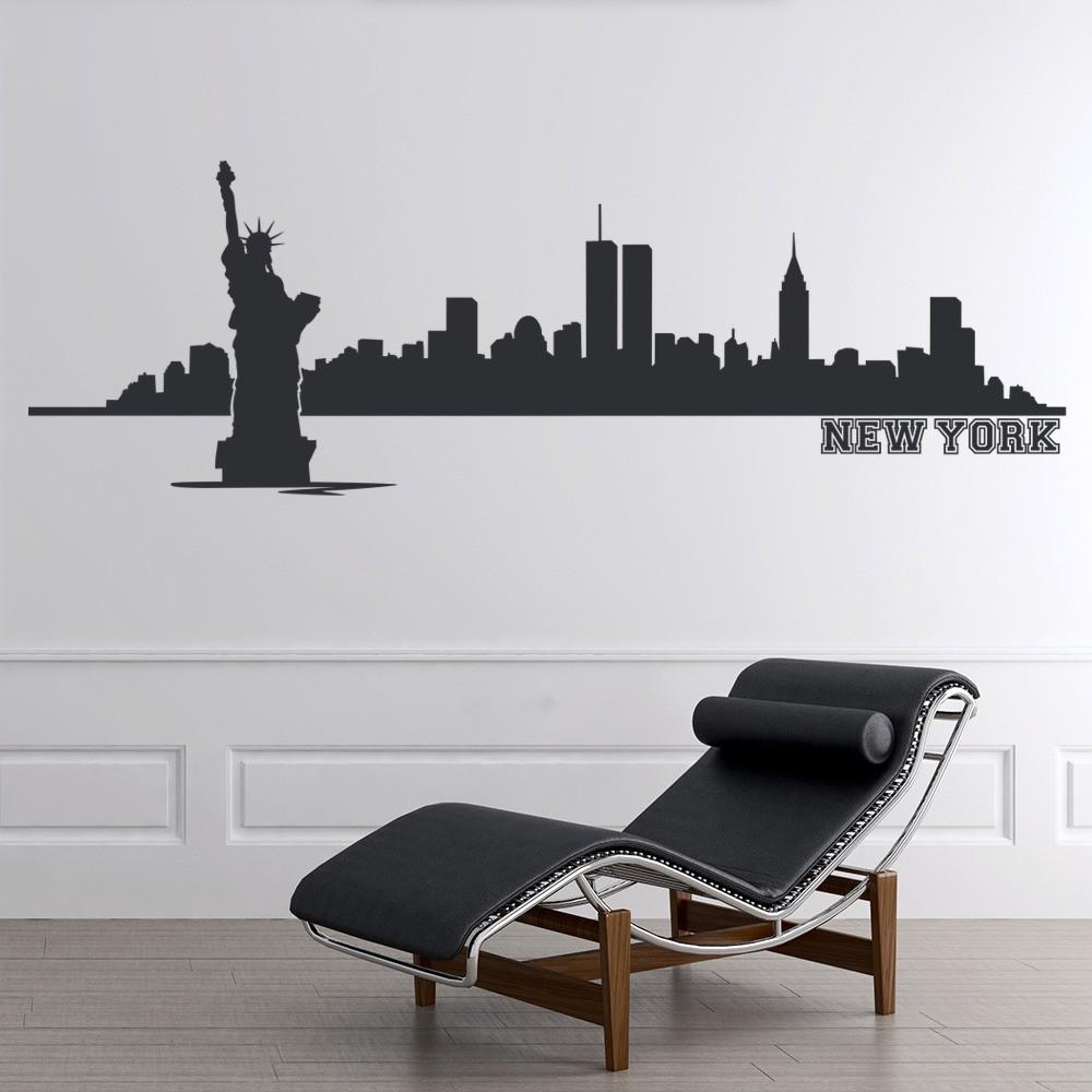 New York Wall Sticker City Skyline Wall Decal Living Room Bedroom Home Decor
