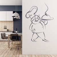 Chef Serving Food Wall Sticker Kitchen Wall Decal ...