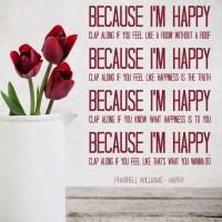 Pharrell Williams Wall Sticker Happy Song Lyrics Wall ...