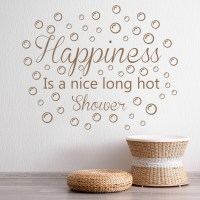 Happiness Wall Sticker Bathroom Quote Wall Decal Shower ...
