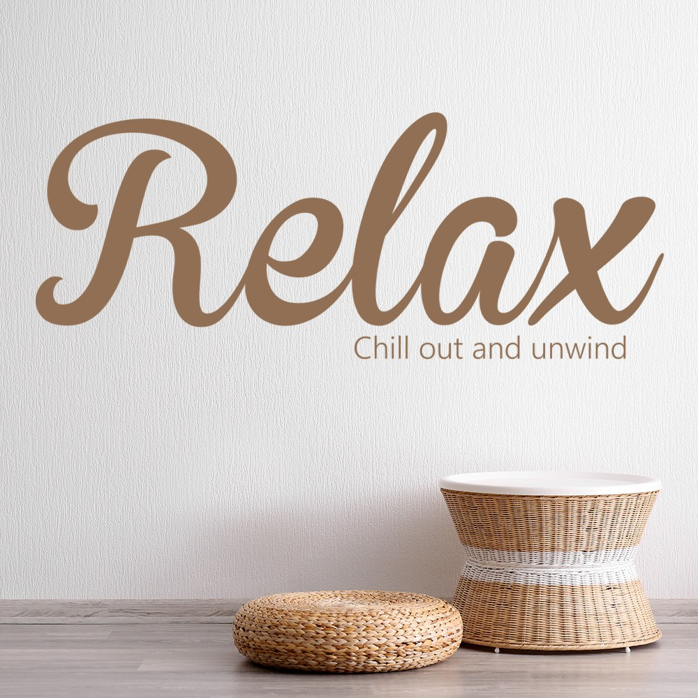 Relax Wall Sticker Bathroom Quote Wall Decal Chill Out Unwind Home Decor