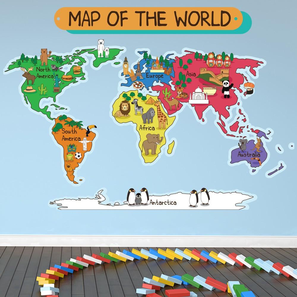 Animal World Map Wall Sticker World Map Wall Decal Kids