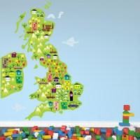 Landmark Map Wall Sticker UK And Ireland Map Wall Decal ...