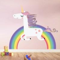Unicorn Wall Sticker Rainbow Wall Decal Art Girls Bedroom ...