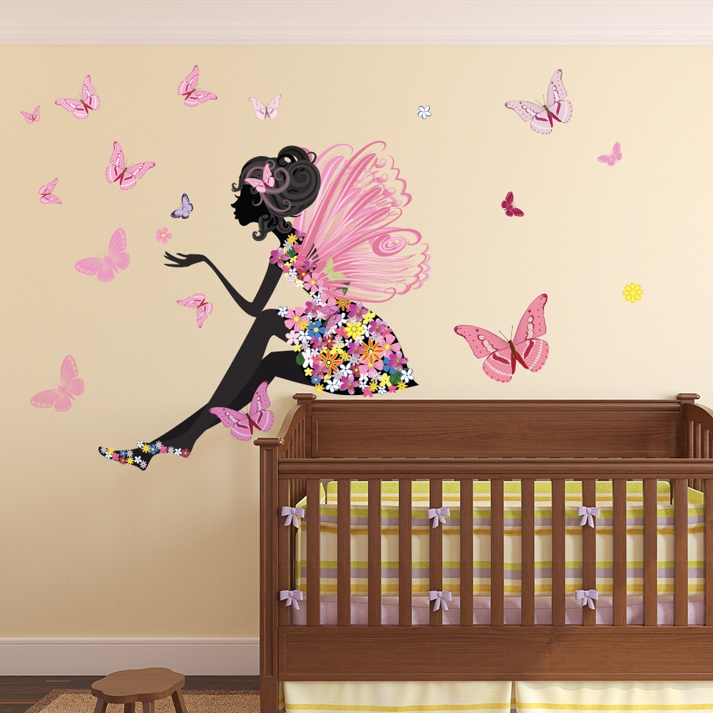 Girl Room Wallpaper And Fablic With Animal Flower Fairy Wall Sticker Scene Butterfly Wall Decal Girls