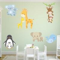 Cute Animal Monkey Giraffe Nursery Wall Sticker Set