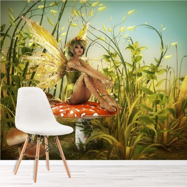 Green Fairy Wall Mural Woodland Fantasy Wallpaper