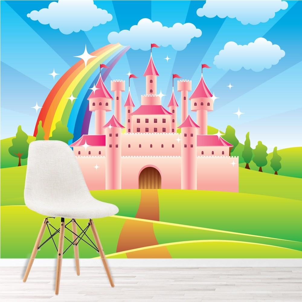 Pink Princess Castle Wall Mural Fairytale Rainbow Photo
