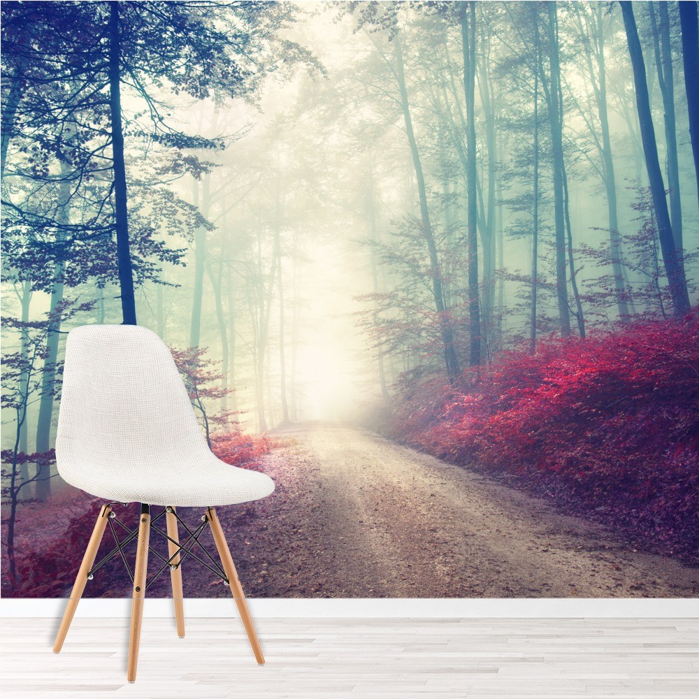 Magical Red Road Wall Mural Misty Forest Tree Photo