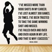 Michael Jordan 9000 Shots Wall Sticker Basketball Quote ...
