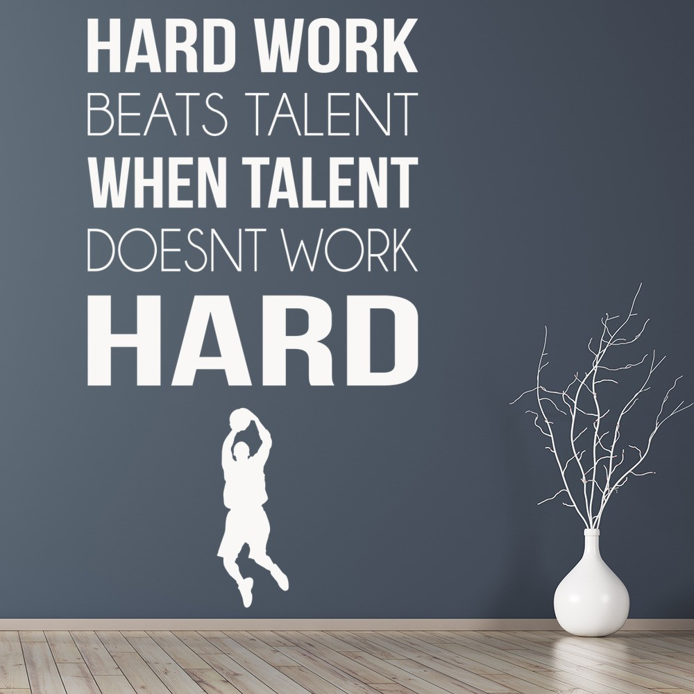 Hard Work Sports Inspirational Quotes Wall Sticker Home