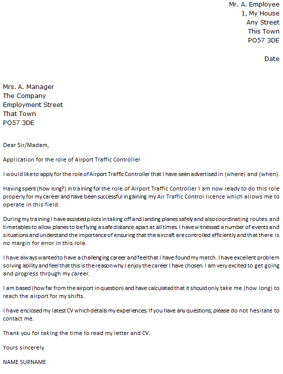 Traffic Controller Cover Letter