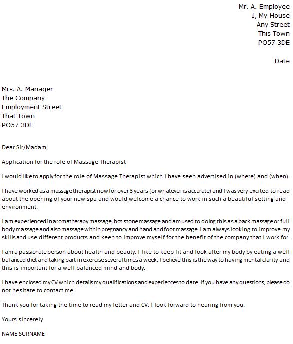 Massage Therapist Cover Letter Example  icoverorguk