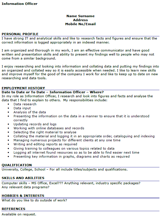 Information Officer CV Example Icover Org Uk