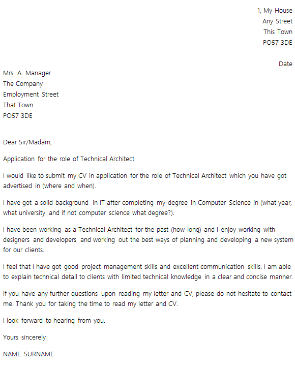 cover letter lay out