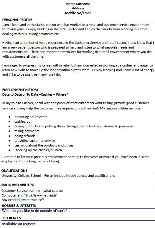 Cashier CV Example Icover Org Uk