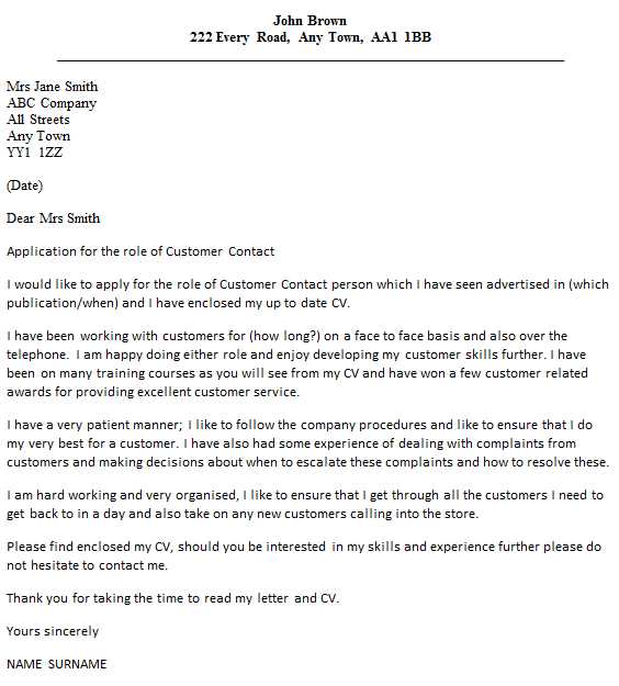 Customer Contact Agent Cover Letter Example  icoverorguk
