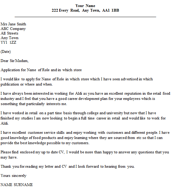 food service cover letter template