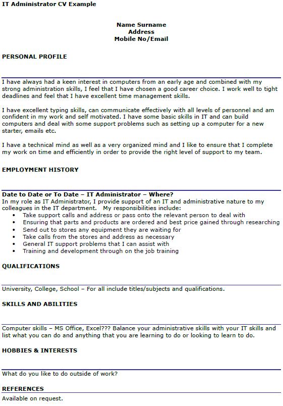 IT Administrator CV Example  icoverorguk