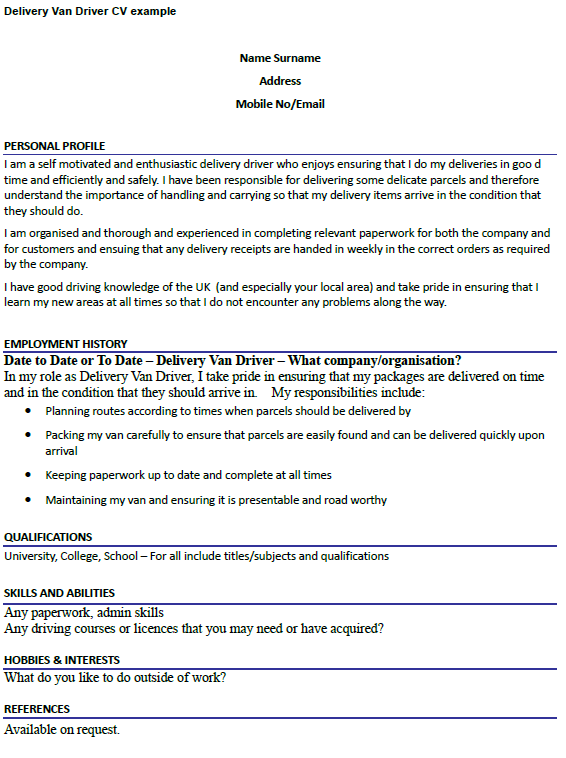 driver cover letter example