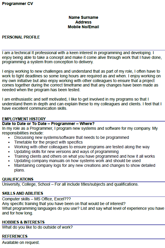 Programmer CV Example Uk