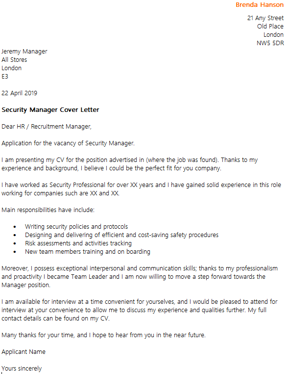 Security Manager Cover Letter Example  icoverorguk
