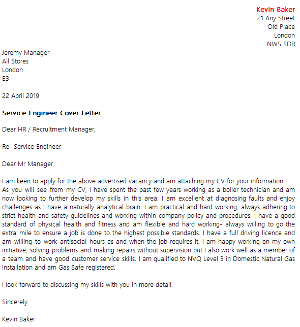 Service Engineer Cover Letter Example  icoverorguk