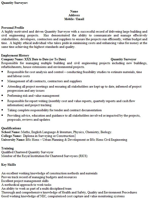Quantity Surveyor CV Example Icover Org Uk