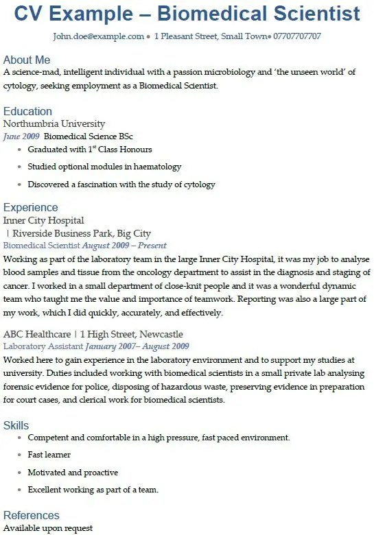 Biomedical Scientist CV Example  icoverorguk