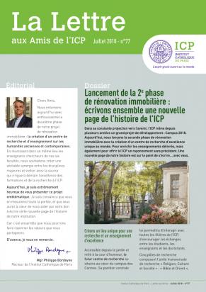 ICP Lettre aux Amis Juillet 2018