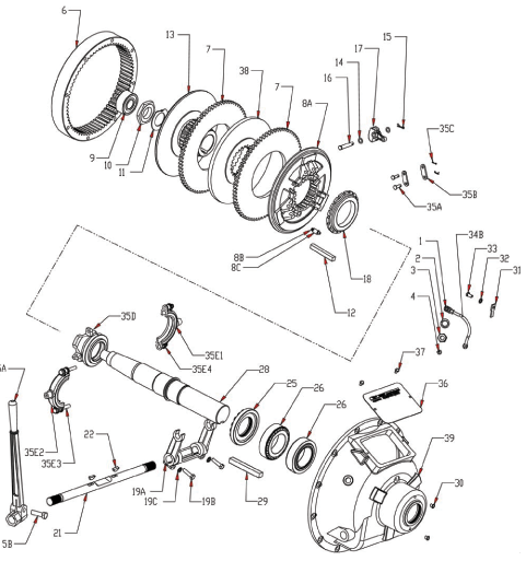 WPT Mechanical PTO Clutch Exploded Diagram