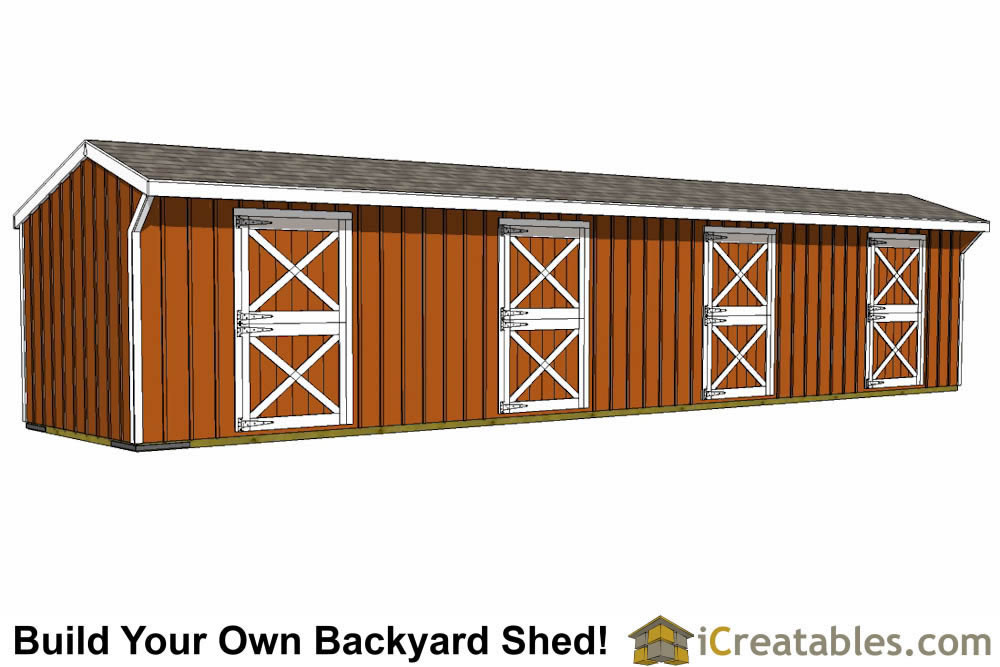 12x48 4 Stall Horse Barn Plans