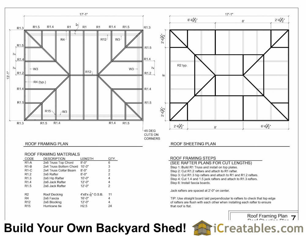 12x16 Hip Roof Shed Plans