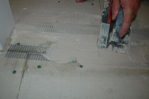install tile backer board on sub floor