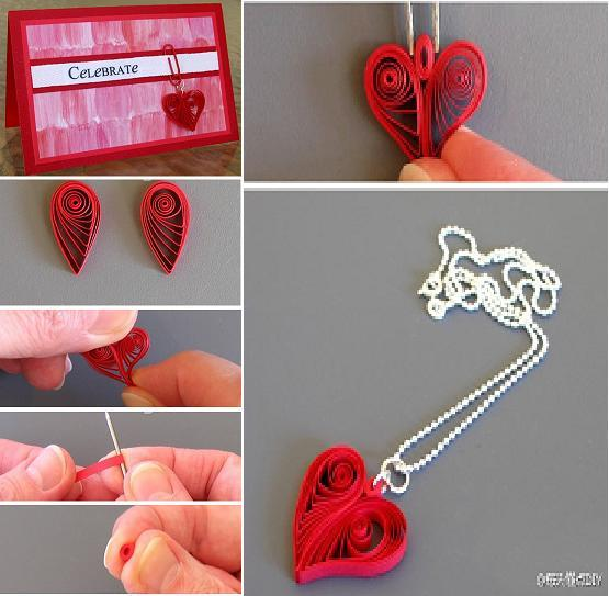 DIY Quilling Heart Shaped Decoration