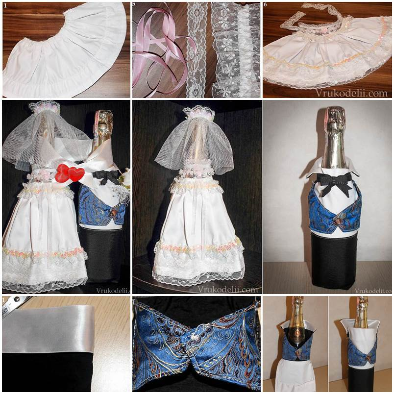 Wedding DIY  Bride and Groom Decorative Costumes for Wedding Champagne