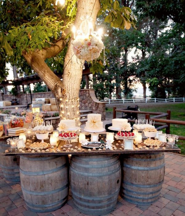 Wine Barrel Outdoor Table