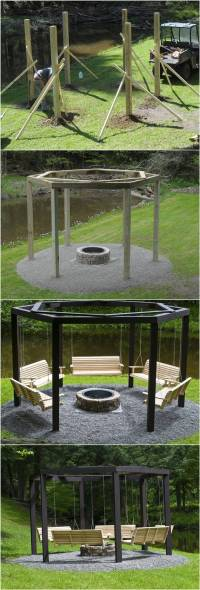 DIY Backyard Fire Pit with Swing Seats | iCreativeIdeas.com