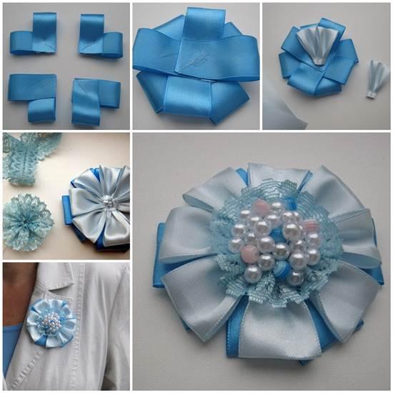 How To DIY Easy Satin Ribbon Flower Brooch