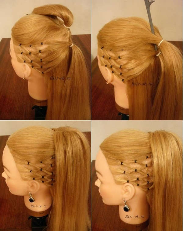 How to DIY High Ponytail with Side Mesh Hairstyle  iCreativeIdeascom