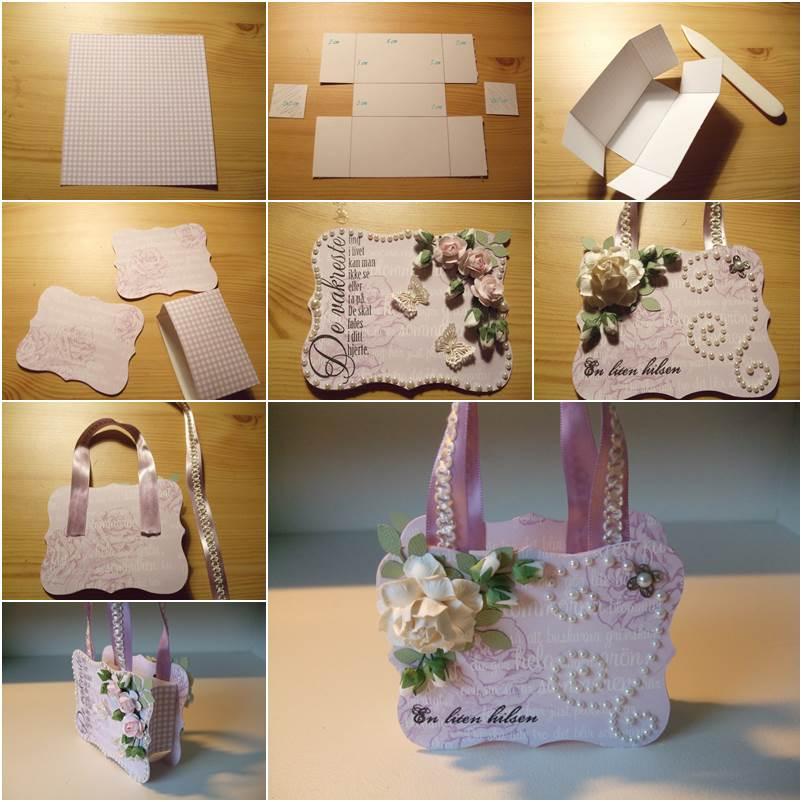 How To DIY Handbag Style Paper Gift Basket