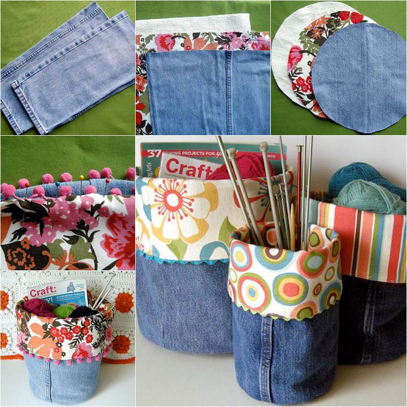 How to DIY Nice Storage Bins from Old Jeans