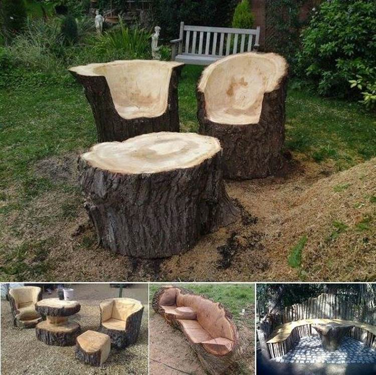 Ideas Stunning Tree Trunk Garden Furniture