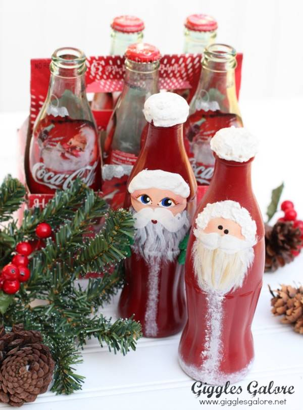 Creative Ideas  DIY Christmas Hand Painted Glass Bottle Santa