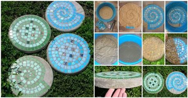 diy mosaic tile garden stepping stones