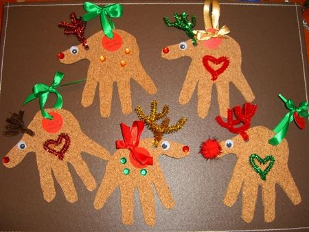 40+ Creative Handprint and Footprint Crafts for Christmas --> Reindeer Christmas Cards and Ornaments