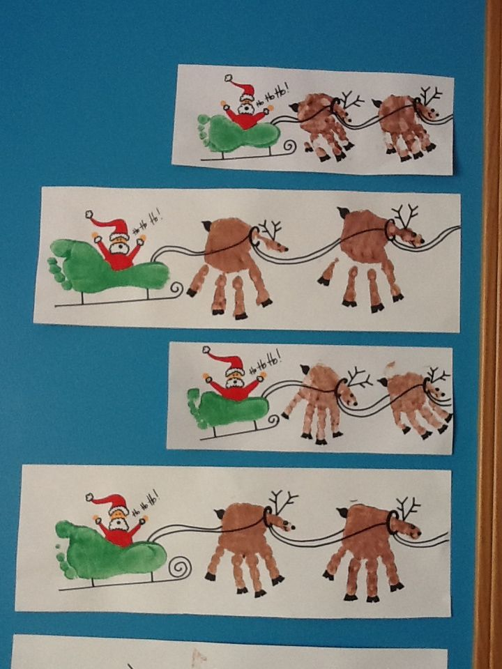 40+ Creative Handprint and Footprint Crafts for Christmas --> Handprint Reindeers and Footprint Sleigh Christmas Craft