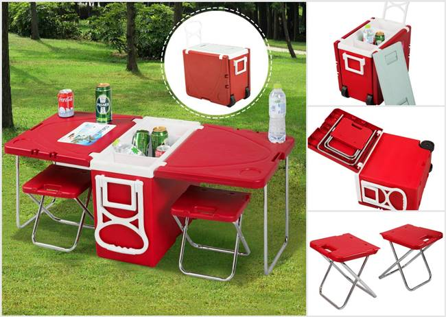 picnic time folding chair covers hire cost creative ideas - multi-functional rolling cooler with table and two chairs i