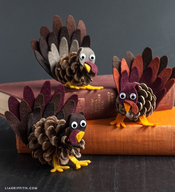 Felt and Pinecone Turkey Craft
