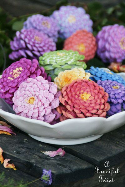 Make Zinnia Flowers from Pinecones